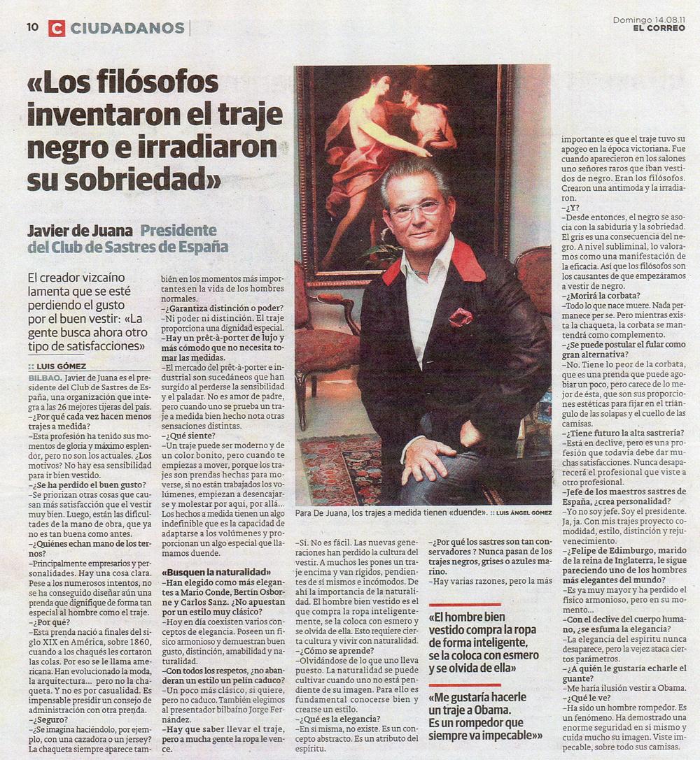 Entrevista El Correo - Javier de Juana