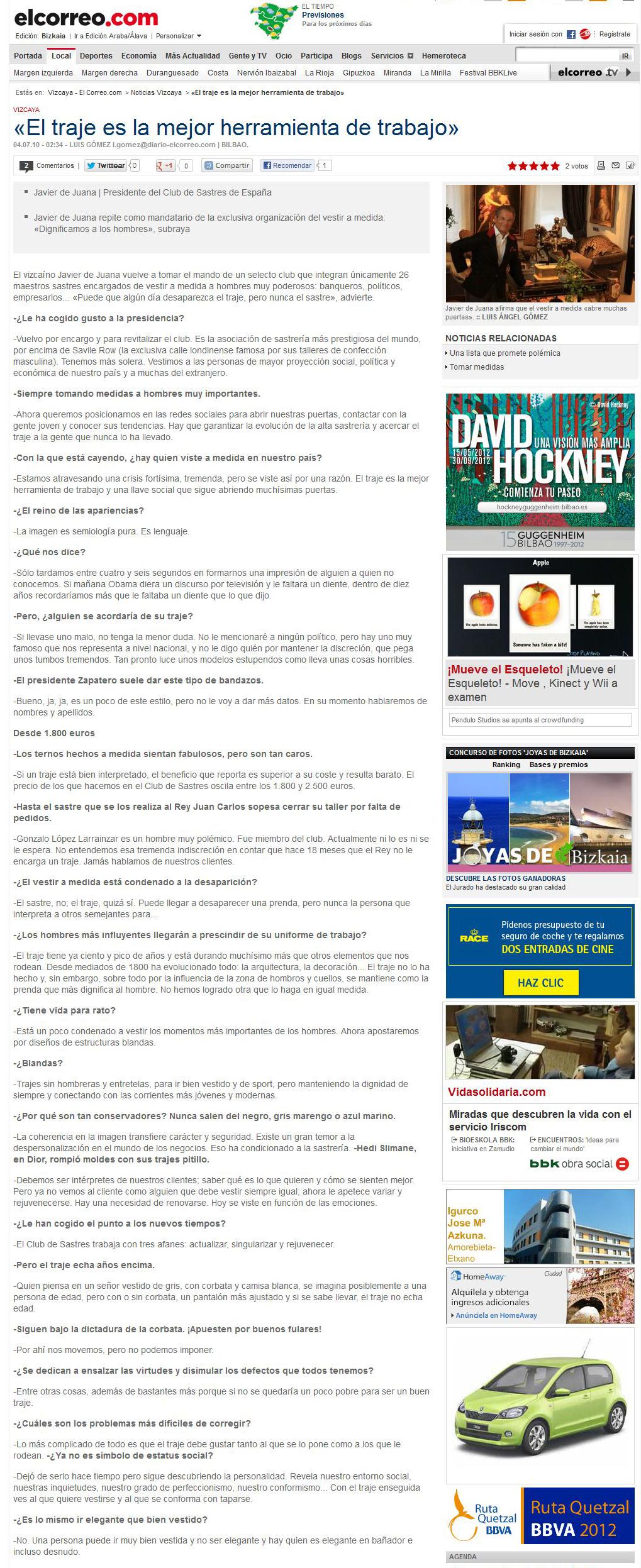 Entrevista El Correo 2 - Javier de Juana